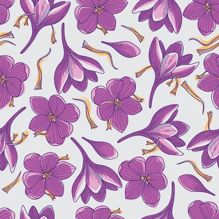 Illustration pour Purple Crocus Flowers and Orange Saffron Threads Line Drawing Seamless Pattern on Grey Background - image libre de droit