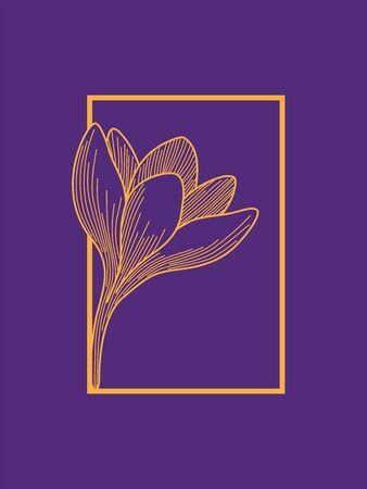 Illustration pour Crocus Flower in Frame Design. Orange on Purple. Minimalist Design - image libre de droit