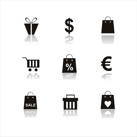 set of 9 shopping icons