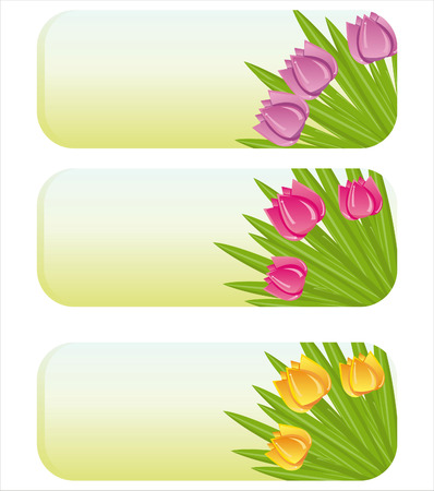 set of 3 spring banners with tulips