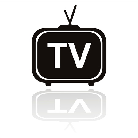 black television icon isolated on white