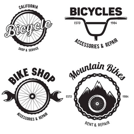 Illustration pour Set of vintage and modern bike shop badges and labels. Cycle wheel isolated vector. Old style bicycle shop and repair - image libre de droit