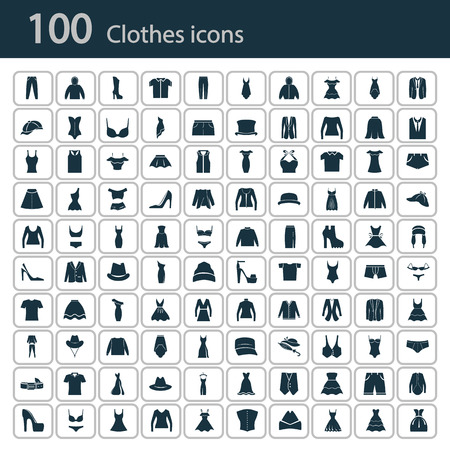 Illustration for Set of one hundred clothes icon - Royalty Free Image