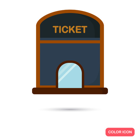 Cinema ticket office color flat icon