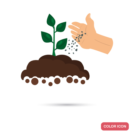 Illustration for Putting fertilizer to the agriculture crop color flat icon for web and mobile design - Royalty Free Image