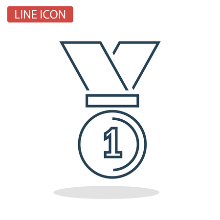 First place medal line icon for web and mobile design