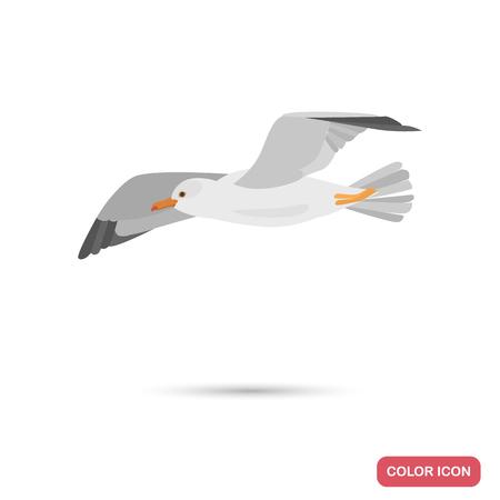 Ilustración de Flying seagull color flat icon - Imagen libre de derechos