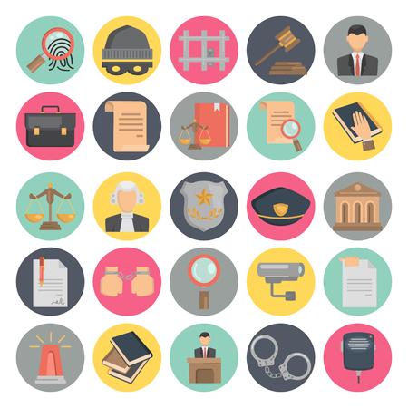 Illustration pour Justice and law color flat icons set for web and mobile design - image libre de droit