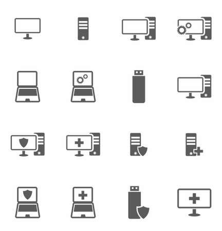 Illustration pour Computer repair icon set in flat style on white background vector illustration - image libre de droit