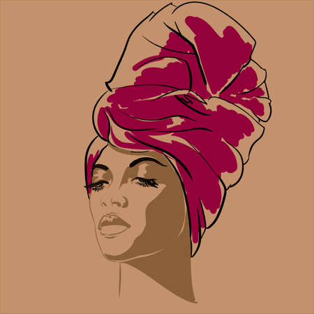 Photo for Attractive young African-american fashion model. Portrait of beautiful African woman. illustration. portrait of beautiful African American woman in line art style. Side view. - Royalty Free Image