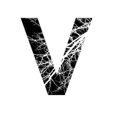 Letter V double exposure with white tree on black background.Vector isolated illustration.Black and white double exposure silhouette numbers combined with photograph of nature.Letters of the alphabet