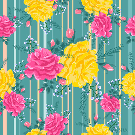 Illustration pour pattern with pink and yellow roses on a green - image libre de droit