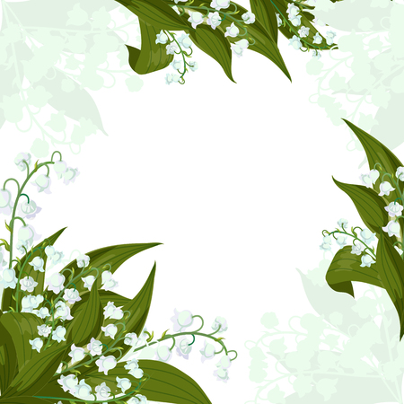 Illustration pour Frame.Greeting card.Lilly of the valley - May bells, Convallaria majalis with green leaves on a white background. Spring flowers bouquet.Hand drawn realistic vector illustration. - image libre de droit