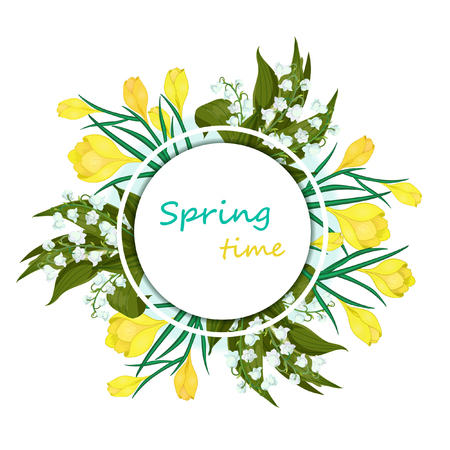 Illustration pour Greeting card with the words spring Time and flowers.Hand drawn realistic Vector illustration with,Lilly of the valley - May bells, Convallaria majalis,yellow crocuses on a white background. - image libre de droit