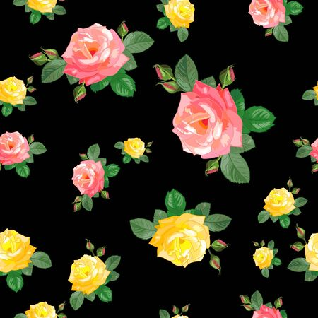 Illustration pour seamless pattern with pink,yellow roses - image libre de droit