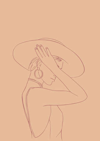 Illustration for Silhouette of elegant lady in a hat. Female figure. Outline of young girl. - Royalty Free Image