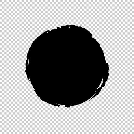 Illustration for Circle Brush Stroke. Ink print of stamp. Distress Frame. Black round banner, logo, design element. Seamless transparent background with a chessboard. Vector illustration for your design - Royalty Free Image