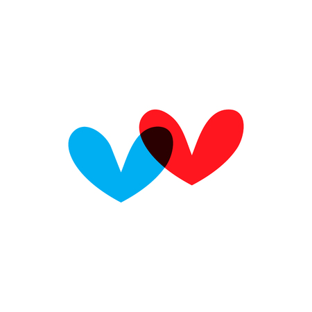 Romantic hearts icon blue and red on white background. Love symbol. Happy valentines day and wedding design elements. Simple vector element illustration in a modern style.
