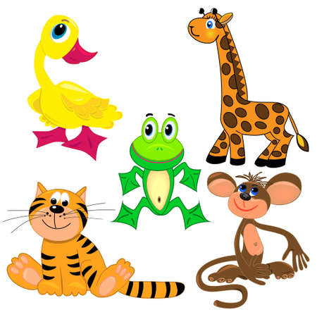 Foto de set of zoo animals.vector illustration. cute characters.isolated on white background - Imagen libre de derechos