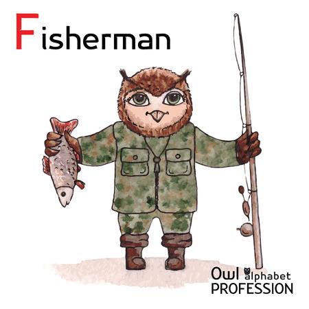 Alphabet professions Owl Letter F - Fisherman Vector Watercolor