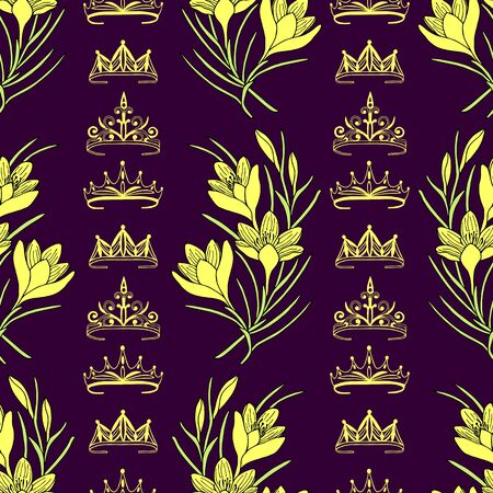 Illustration for Seamless pattern of tiaras, crowns and crocus flowers. - Royalty Free Image