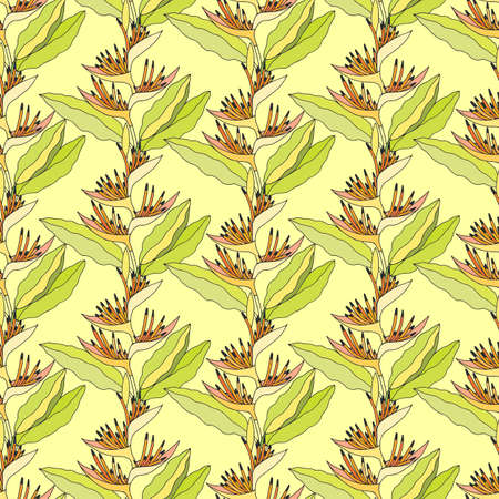 Illustration for Seamless pattern of Heliconium plant. EPS10 vector illustration. Hand drawing. - Royalty Free Image