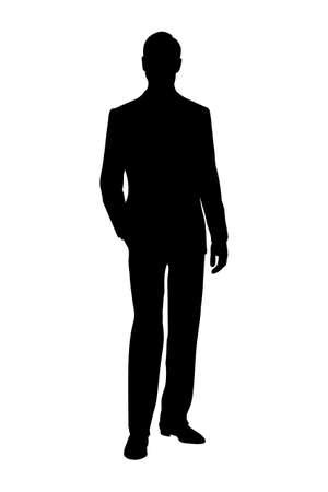 Illustration pour silhouette of man black and white vector illustration - image libre de droit