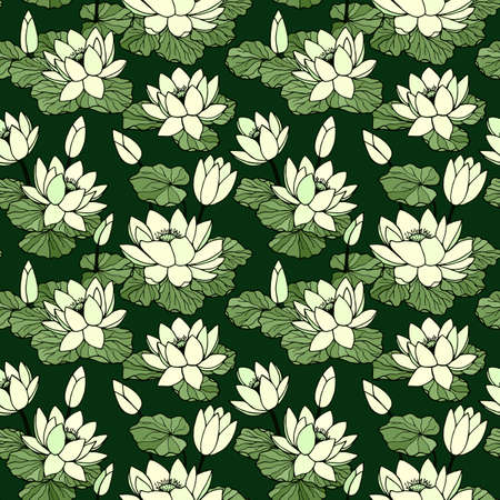 Illustration pour Water lilies seamless pattern. Vector stock illustration eps10. Hand drawing. - image libre de droit