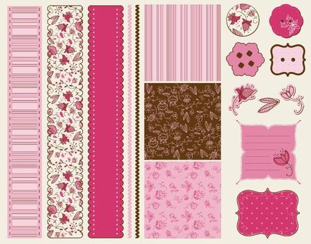 Ilustración de Scrapbook Flower Set  in vector - Imagen libre de derechos