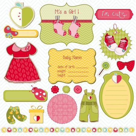 Ilustración de Design Elements for Baby scrapbook - easy to edit - Imagen libre de derechos