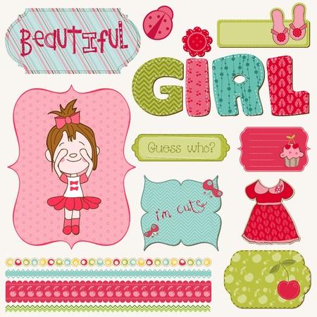 Ilustración de Scrapbook Girl Set - design elements - Imagen libre de derechos