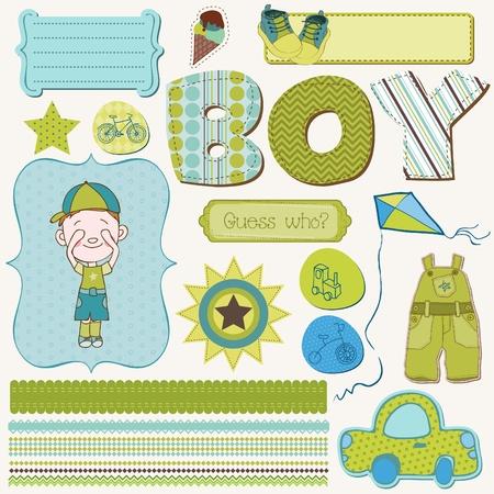 Ilustración de Scrapbook Boy Set - design elements - Imagen libre de derechos