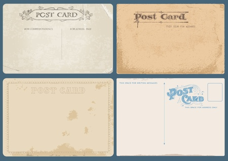 Set of Antique postcards in vector with Postal stamps- see more in my profile