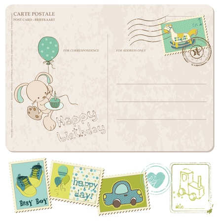 Illustration pour Baby Boy Birthday Postcard with set of stamps - image libre de droit