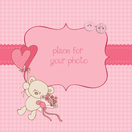 Illustration pour Baby Greeting Card with Photo Frame and place for your text in vector - image libre de droit
