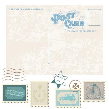 Illustration pour Retro Postcard and Postage Stamps - for wedding design, invitation, congratulation, scrapbook - image libre de droit