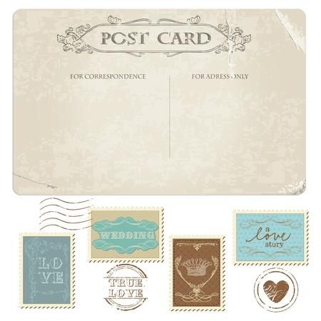 Illustration pour Vintage Postcard and Postage Stamps - for wedding design, invitation, congratulation, scrapbook - image libre de droit