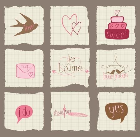 Ilustración de Paper Love and Wedding Design Elements -for invitation, scrapbook in vector - Imagen libre de derechos