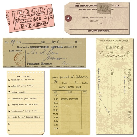 Old paper objects - vintage tickets, letters, notes - for design and scrapbook in vector