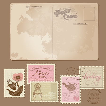 Vintage Postcard and Postage Stamps - for wedding design, invitation, congratulation, scrapbook