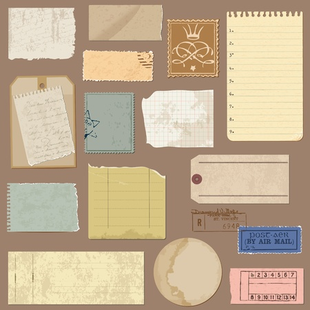 Set of Old paper objects - for design and scrapbook in vector
