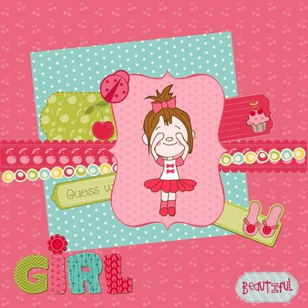 Ilustración de Scrapbook design elements - Cute Baby Girl Set - Imagen libre de derechos