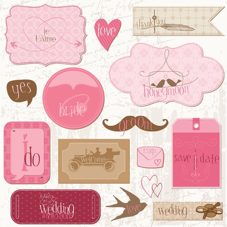 Ilustración de Romantic Wedding Tags and Design Elements -for invitation, scrapbook in vector - Imagen libre de derechos