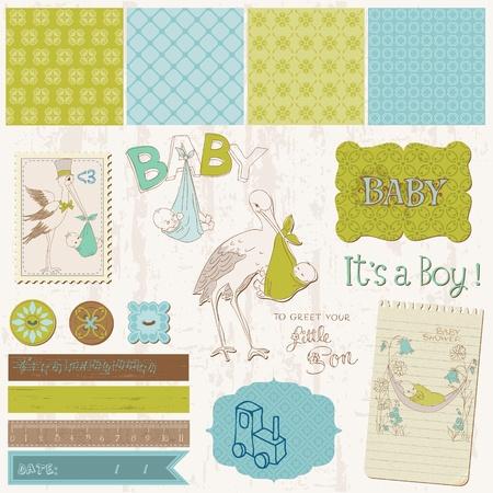 Illustration for Scrapbook Vintage design elements - Baby Boy Announcement - Royalty Free Image