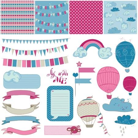 Ilustración de Scrapbook Design Elements - Party, Balloons and Parachute - Imagen libre de derechos
