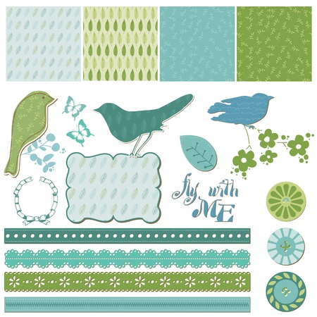 Ilustración de Floral Scrapbook Design Elements with Birds in vector - Imagen libre de derechos