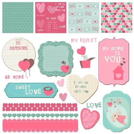 Ilustración de Scrapbook Design Elements - Love Set - for cards, invitation, greetings - Imagen libre de derechos
