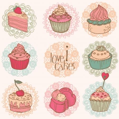 Ilustración de Cute Card with Cakes and Desserts - for your design and scrapbook - Imagen libre de derechos