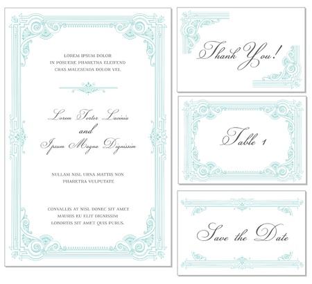 Foto de Vector Vintage Wedding Frame Set - for invitations or announcements - Imagen libre de derechos