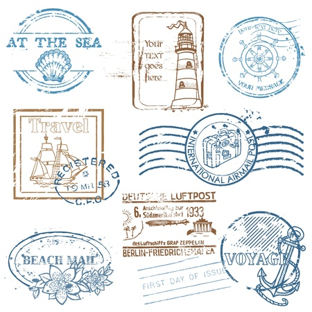 Foto de Vector Set of Retro SEA stamps - for design and scrapbook - Imagen libre de derechos